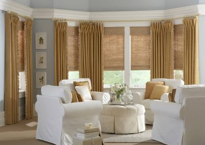 Gold tone curtains and shades